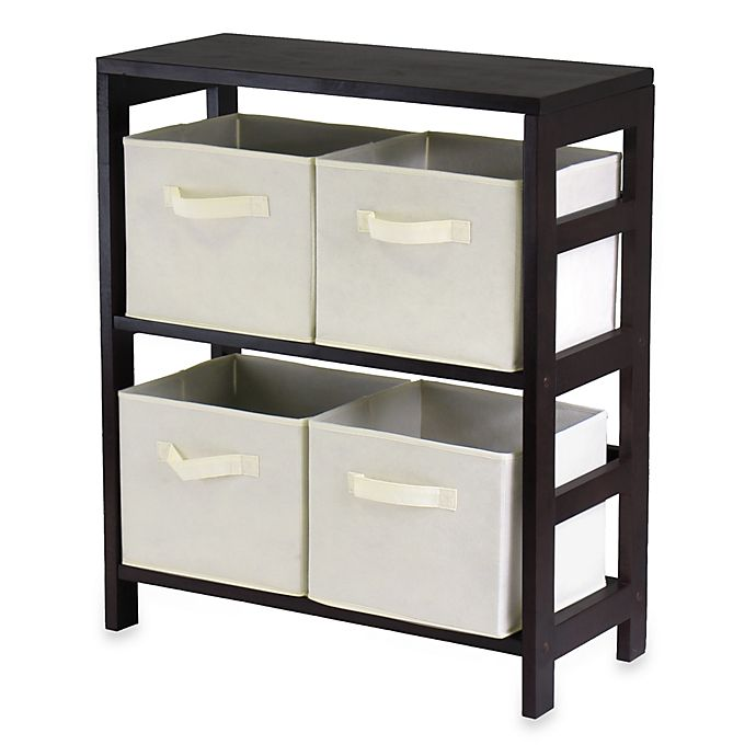 Alternate image 1 for Capri 2-Section Storage Shelf with 4 Foldable Fabric Baskets in Beige
