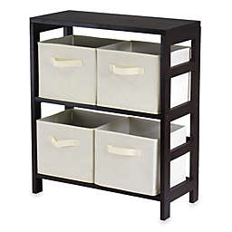 Capri 2 Section Storage Shelf With 4 Foldable Fabric Baskets In Beige