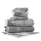 Pacific Coast Textiles 6-Piece Reversible Ikat Artesia Damask Bath Towel Set in Grey