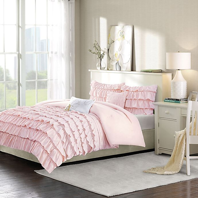 Alternate image 1 for Intelligent Design Waterfall 5-Piece Full/Queen Reversible Comforter Set in Blush