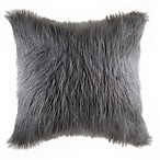 Flokati Faux Fur European Throw Pillow in Grey