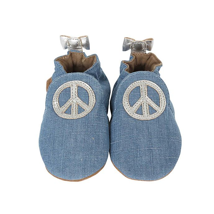 Alternate image 1 for Robeez® Size 0-6M Soft Sole™ Peace Out Shoe in Blue