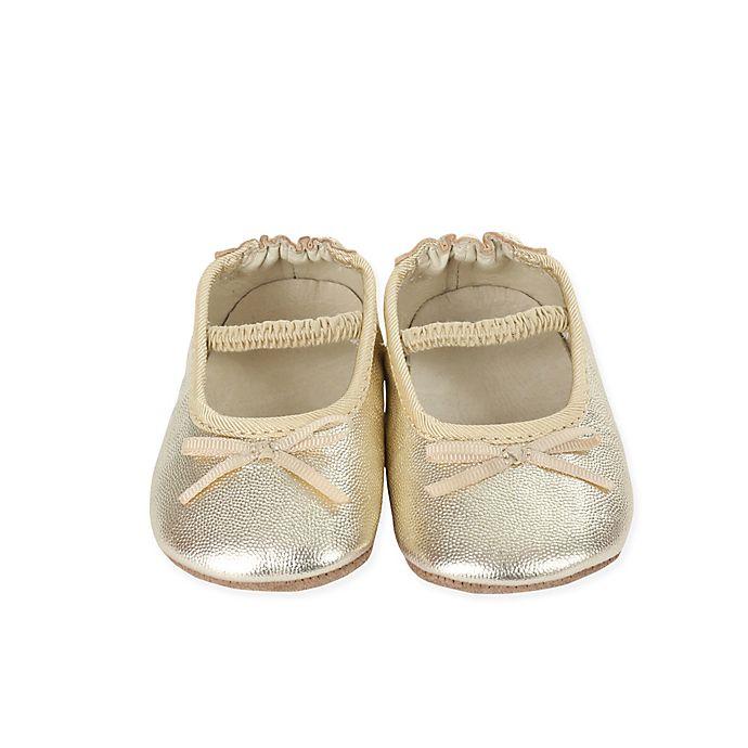 Alternate image 1 for Robeez® First Kicks Size 6 Athena Ballet Strap Shoe in Gold