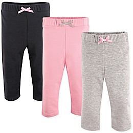 Luvable Friends® 3-Pack Leggings in Light Pink/Black