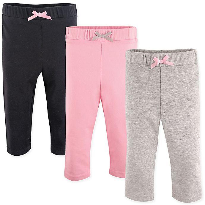Alternate image 1 for Luvable Friends® 3-Pack Leggings in Light Pink/Black