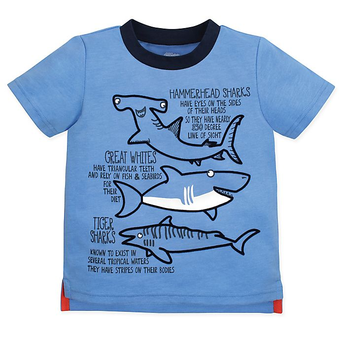 Alternate image 1 for Gerber® Graduates Size 4T Sharks T-Shirt in Blue