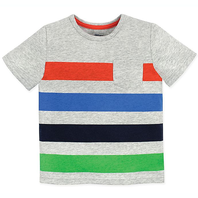 Alternate image 1 for Gerber® Graduates Size 3T Striped Pocket T-Shirt in Grey