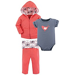 BabyVision® Yoga Sprout 3-Piece Bird Bodysuit, Hoodie, and Pant Set in Coral/Grey