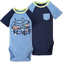 Gerber® 2-Pack Shark Bodysuits in Blue