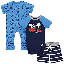 Gerber® Onesies® 3-Piece Sharks Bodysuit, Short and Coverall Set in Blue