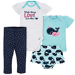 Gerber® 4-Piece Onesie, Shirt, Legging and Skirted Panty Set in Blue/White