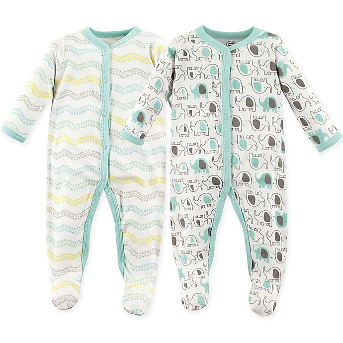 Alternate image 1 for Luvable Friends® Elephants 2-Pack Snap-Front Sleep and Play Sleepers in Grey