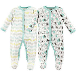 Luvable Friends® Elephants Size 0-3M 2-Pack Snap-Front Sleep and Play Sleepers in Grey