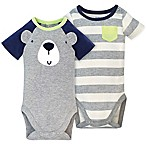 Gerber® Size 0-3M 2-Pack Bear Short Sleeve Bodysuits in Grey