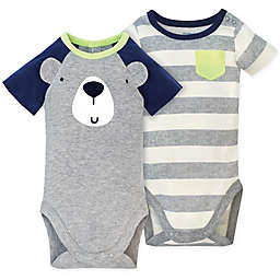 Gerber® 2-Pack Bear Short Sleeve Bodysuits in Grey
