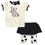 Gerber® Size 3-6M 2-Piece Bunny Shirt and Tutu Capri Set in Ivory/Black