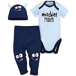 Gerber® 3-Piece Monster Bodysuit, Pant, and Cap Set in Blue