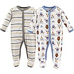 Luvable Friends® Size 3-6M 2-Pack Be Brave Sleep N' Play Footies in White