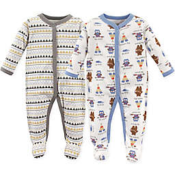 Luvable Friends® 2-Pack Be Brave Sleep N' Play Footies in White