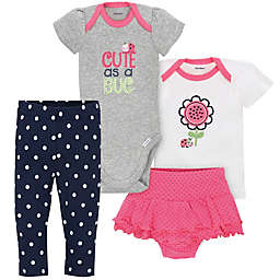 Gerber® 4-Piece Ladybug Bodysuit, Shirt, Panty and Pant Set in Grey/White
