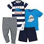 Gerber® 4-Piece Size 18M Shark Surf Bodysuit, Shirt, Shorts, and Pant Set in Blue