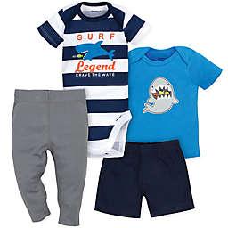 Gerber® 4-Piece Shark Surf Bodysuit, Shirt, Shorts, and Pant Set in Blue