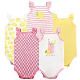 BabyVision® Hudson Baby® 5-Pack Pink Lemonade Short Sleeve Bodysuits