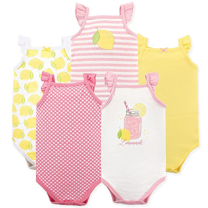 Alternate image 1 for BabyVision® Hudson Baby® 5-Pack Pink Lemonade Short Sleeve Bodysuits