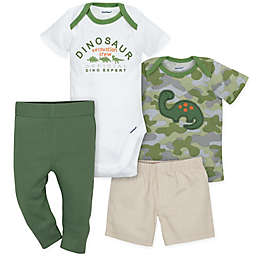 Gerber® 4-Piece Dinosaur Bodysuit, Shirt, Shorts, and Pant Set in Green