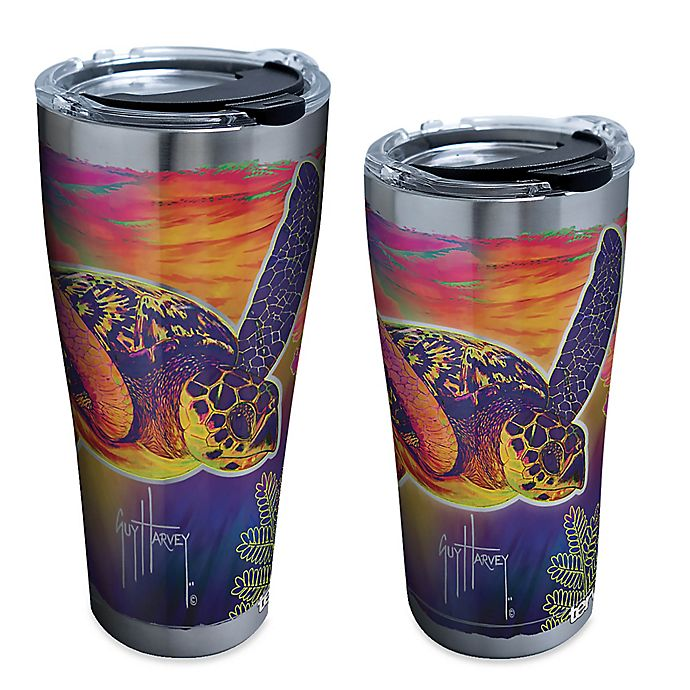 Alternate image 1 for Tervis® Guy Harvey® Neon Turtle Stainless Steel Tumbler with Lid