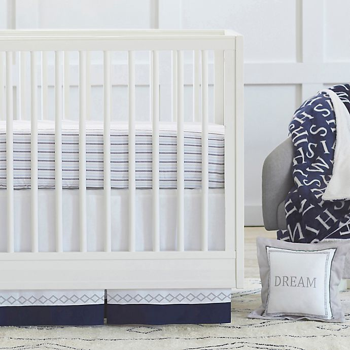 Alternate image 1 for Just Born® Dream Crib Bedding Collection in Navy/Grey