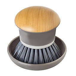 Vigar Bamboo Print Palm Dish Brush with Holder in Grey