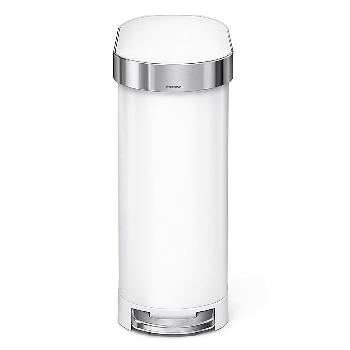 Alternate image 1 for simplehuman® Slim 45-Liter Step-On Trash Can with Liner Rim in White