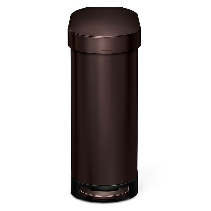 Alternate image 1 for simplehuman® Slim 45-Liter Step-On Trash Can with Liner Rim in Dark Bronze