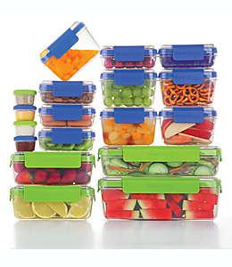 Contenedores de plástico para alimentos Progressive™ SnapLock™ color azul/verde, 36 piezas