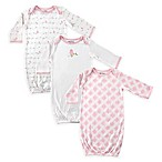 Luvable Friends® Size 0-6M 3-Pack Bird Long Sleeve Gowns in Pink