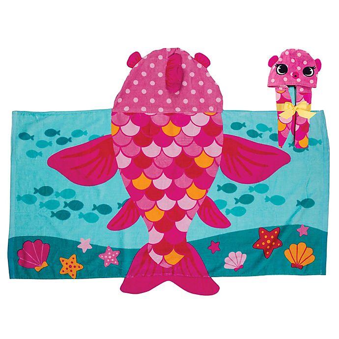 Alternate image 1 for Stephen Joseph Hooded Fish Towel in Pink/Blue