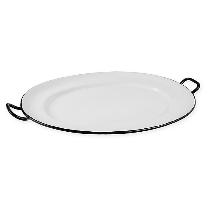 Home Essentials & Beyond Enamel Oval Serving Platter in White