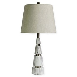 Fangio Lighting Mixed Pyramid 1-Light Table Lamp in White Marble/Nickel