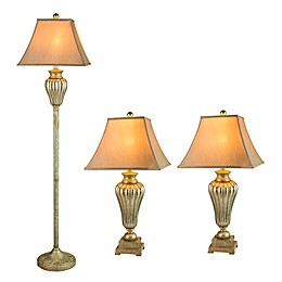 Fangio Lighting Metal & Glass Lamps in Silver (Set of 3)