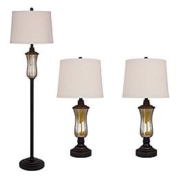 Fangio Lighting Seeded Glass & Metal Lamps in Bronze (Set of 3)