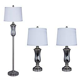 Fangio Lighting Smoke Grey Glass Lamps in Brushed Steel (Set of 3)