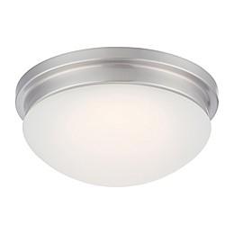 Filament Design 1-Light LED 11.75-Inch  Flush Mount Light Fixture in Brushed Nickel