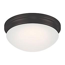 Filament Design 1-Light LED Flush Mount Fixture in Mahogany