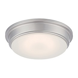 Filament Design LED Flush-Mount Ceiling Light in Brushed Nickel with Frosted Glass Shade
