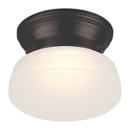 Filament Design LED Flush-Mount Light in Bronze with Frosted Glass Shade
