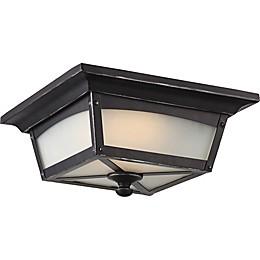 Filament Design Sterling 1-Light LED Flush-Mount Ceiling Fixture in Black