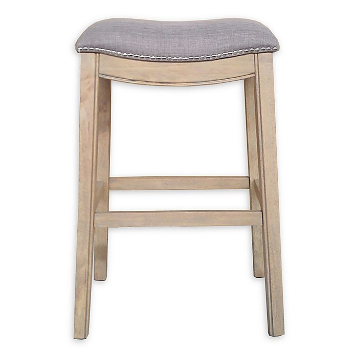 b94e0a726283 Linen Saddle Stool with Reclaimed Wood Legs | Bed Bath & Beyond