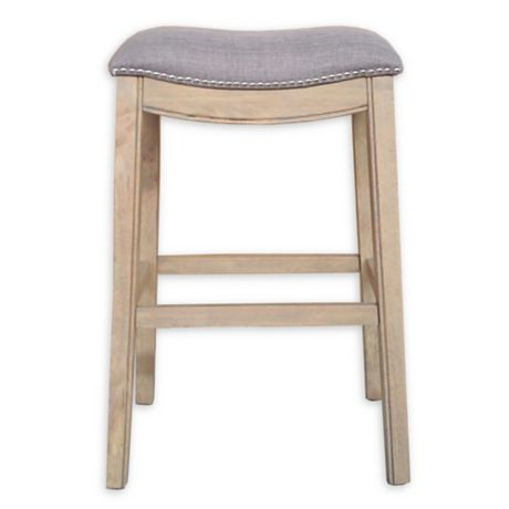 Linen Saddle Stool With Reclaimed Wood Legs Bed Bath