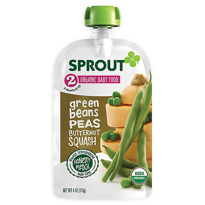 Alternate image 1 for Sprout® 4 oz. Stage 2 Organic Baby Food in Green Beans, Peas, & Butternut Squash